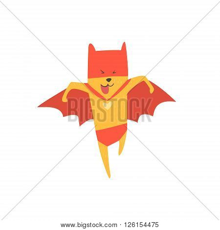 Super Hero Cat Running Flat Geometrical Design Cool  Vector Icon On White Background