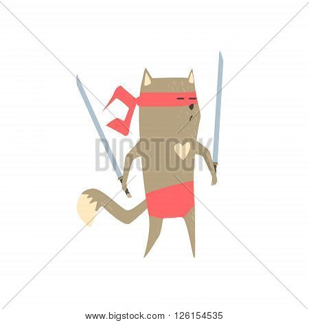 Samurai Cat With Two Swords Flat Geometrical Design Cool  Vector Icon On White Background
