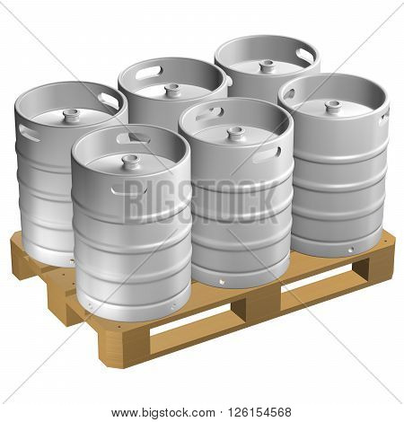 Wooden pallet with kegs isolated on white background. 3D render.