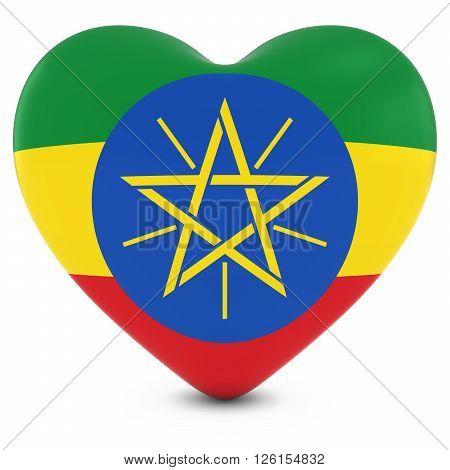 Love Ethiopia Concept Image - Heart Textured With Ethiopian Flag