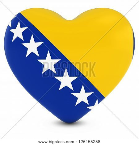 Love Bosnia And Herzegovina Concept Image - Heart Textured With Bosnian And Herzegovinian Flag