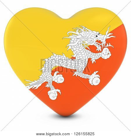 Love Bhutan Concept Image - Heart Textured With Bhutanese Flag