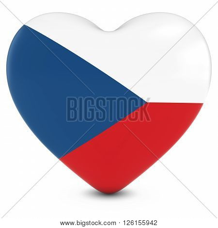 Love Czech Republic Concept Image - Heart Textured With Czech Flag