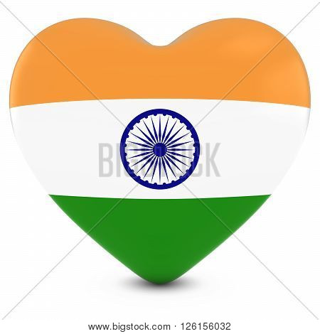 Love India Concept Image - Heart Textured With Indian Flag