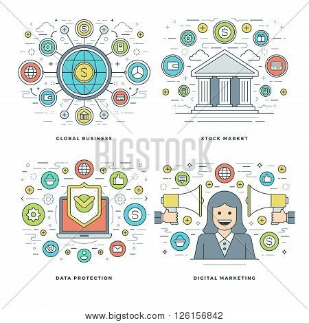 Flat line Stock Market, Data Protection, Digital Marketing, Business Concepts Set Vector illustrations. Modern thin linear stroke vector icons. Website Header Graphics, Banner, Infographics Design.