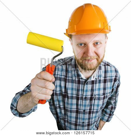 Construction worker in an orange helmet with a paint roller