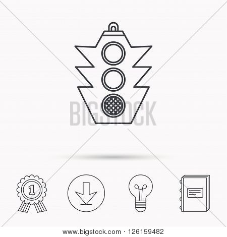 Traffic light icon. Safety direction regulate sign. Download arrow, lamp, learn book and award medal icons.