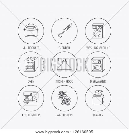Dishwasher, washing machine and blender icons. Kitchen hood, coffee maker and toaster linear signs. Oven, multicooker and waffle-iron icons. Linear colored in circle edge icons.