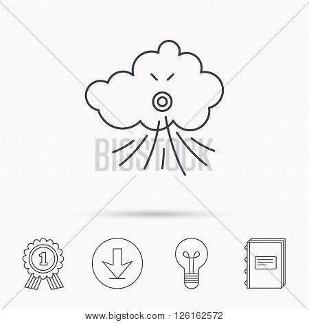 Wind icon. Cloud with storm sign. Strong wind or tempest symbol. Download arrow, lamp, learn book and award medal icons.