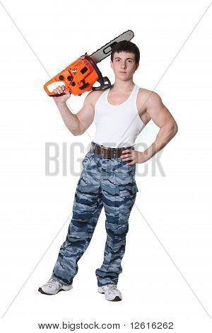 Strong Man With Chainsaw
