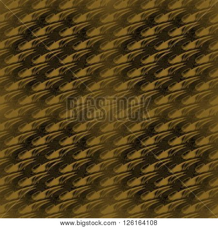 Abstract geometric plain background. Modern seamless diagonal wavy pattern in gold and dark brown shades, in squares centered and blurred.
