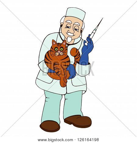 vet helping a sick cat on a white background
