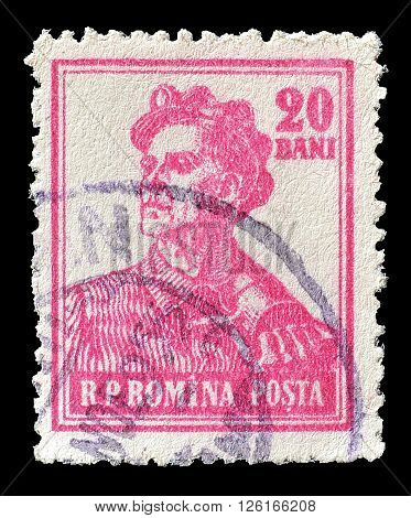 ROMANIA - CIRCA 1955 : Cancelled postage stamp printed by Romania, that shows miner.
