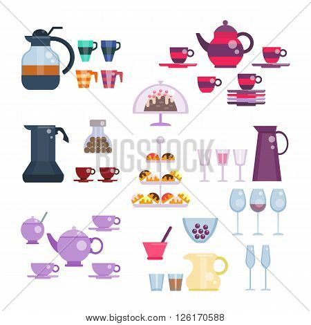 Dishes set vector illustration in flat style. Tea and coffee collection. Tea set. Utensils for serving festive, celebration table. Cups and teapot, glasses and pitcher, sweets and cake