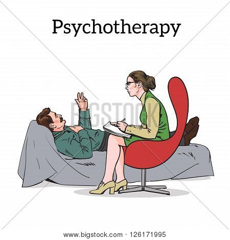 Help psychologist. Psychotherapy. Consulting psychologist doctor. Psychologist listens to patient. Psychologist evaluates the patient. Psychologist solves the problem. Medical counseling.