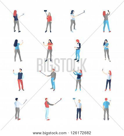 People, male, female, in different shooting selfy pictures poses - modern vector flat design isolated icons set. Making selfies with and without selfy stick