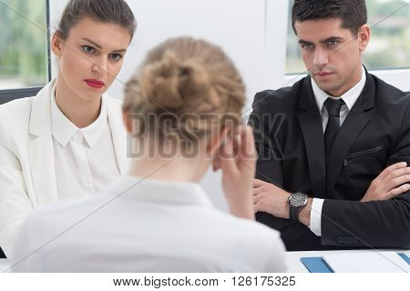 Uncertain stressed woman during her job interview