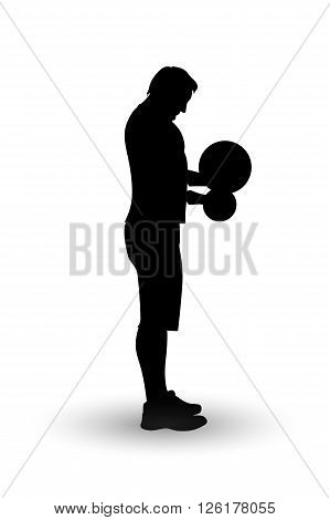 illustration of man silhouette lifting weight on white background
