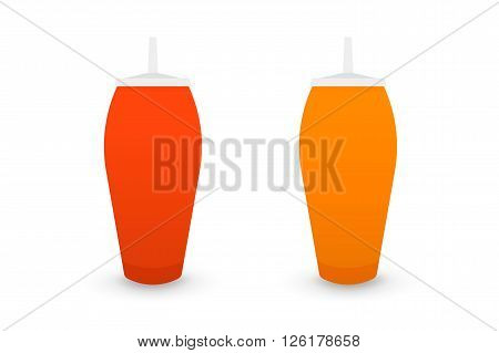 Ketchup and mustard bootles, isolated on white background flat 2.0 vector icon