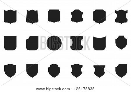 Vintage flat vector heraldic shield shapes labels design. Retro style award os sale labels template.