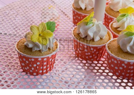 cute and colorful yummy cupcakes tier,  pink, colors, frosting,