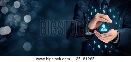Lawyer (advocate jurist) help protect people against injustice. Law represented by paragraph symbol. Protection of rights and freedoms. Wide banner composition and bokeh in background. poster