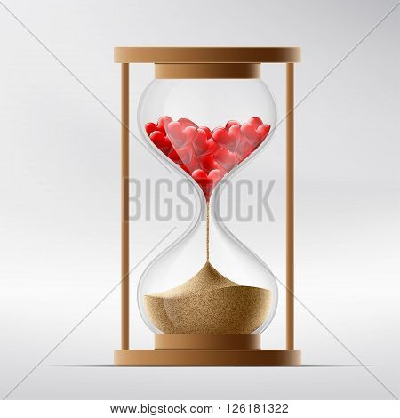 Hourglass with human hearts. Disease a myocardial infarction and death. Stock vector illustration.