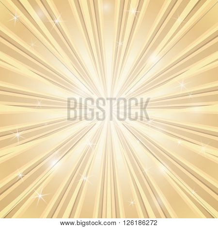 Vector stylish background with shining star with divergent bundle of beams in golden colors for cover, flyer, banner, etc.