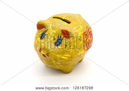 gold piggy bank isolated on white background