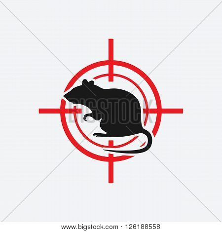 rat icon red target - vector illustration. eps 8