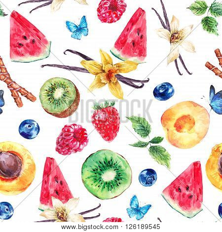 Tropical  Seamless Watercolor Pattern Natural Healthy Food Eco Pattern with Watermelon, Apricot, Kiwi, Vanilla and Berries, Exotic Menu Fruit Card on white background