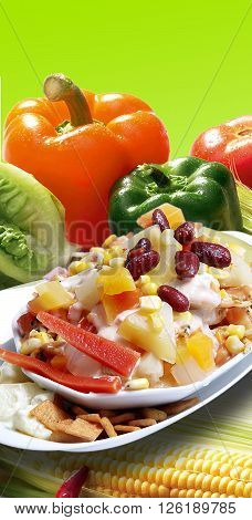 Salad with lots of delicious topping, eat healthy live healthy