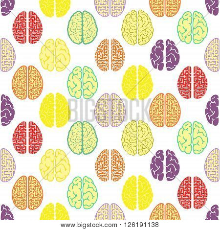 Colorful seamless brain pattern. Vector colorful texture. Scientific background.