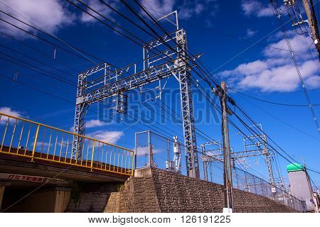 Kyoto Railway With Electric Cable
