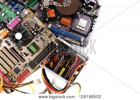 Computer parts, isolated on white