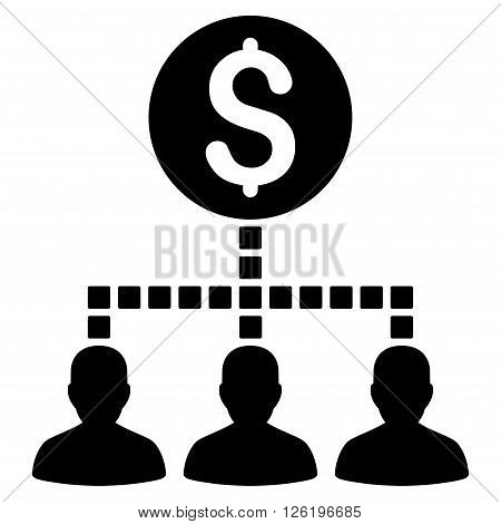Money Recipients vector toolbar icon. Style is flat icon symbol, black color, white background, square dots.