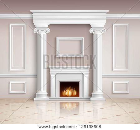 Classic Interior With Fireplace. Classic Interior Illustration. Interior Realistic Design. Classic Room Vector Illustration. Classic Interior Background. Classic Style Illustration.