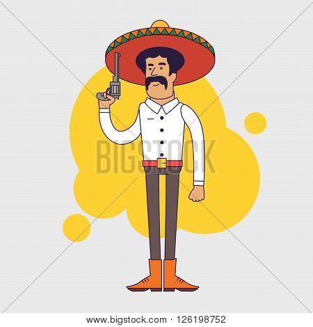 Mexican bandit with sombrero, mustache and big pistol