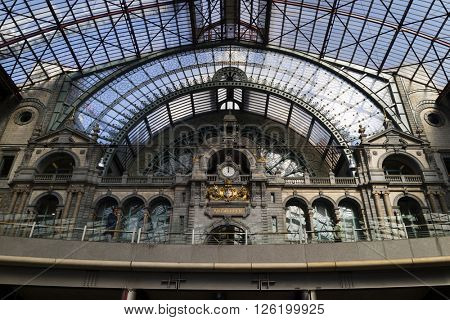Antwerp, Belgium, March, 17, 2016,Clock at the entrance of the railway station Antwerp Central