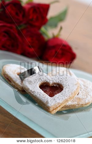 Engagement rign and shortbread hearts