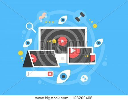 Watch video concept. Movie media, player internet, digital and online, vector illustration