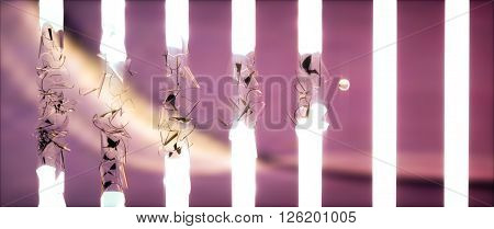 Ball Breaking Fluorescent Lamps On Pink Background.