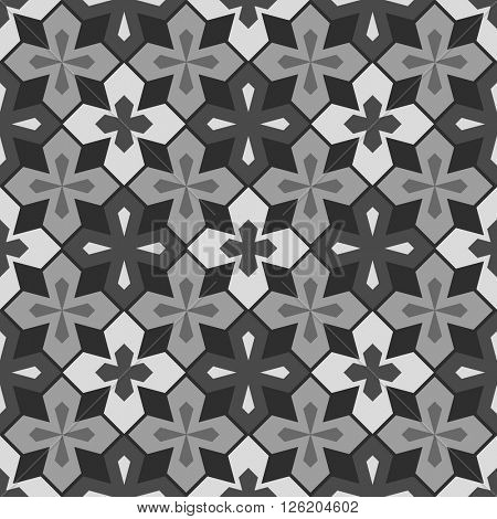 Abstract seamless black, grey and white geometric vector pattern.