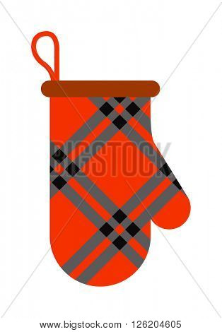 Pot mitten holder home safety kitchen cooking utensil cotton thermal textile flat vector illustration.