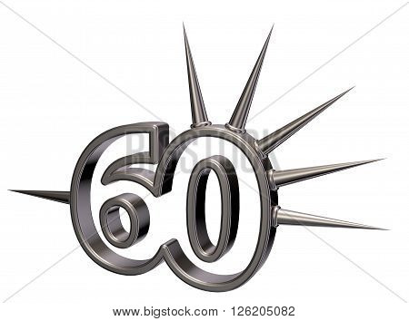 number sixty with prickles on white background - 3d illustration