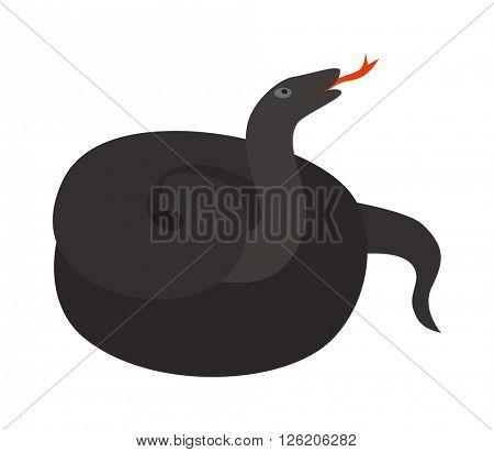 Black mamba uncoiled reptile ready to strike snake dangerous venomous animal vector.