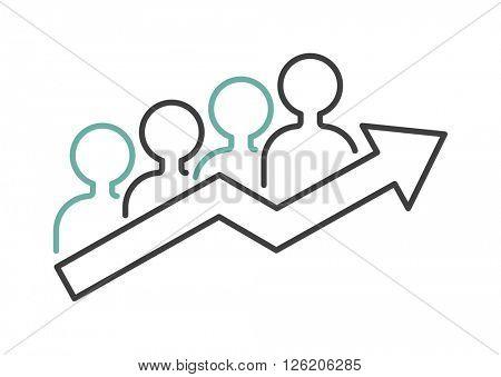 Vector growing chart graph icon business arrow progress diagram.