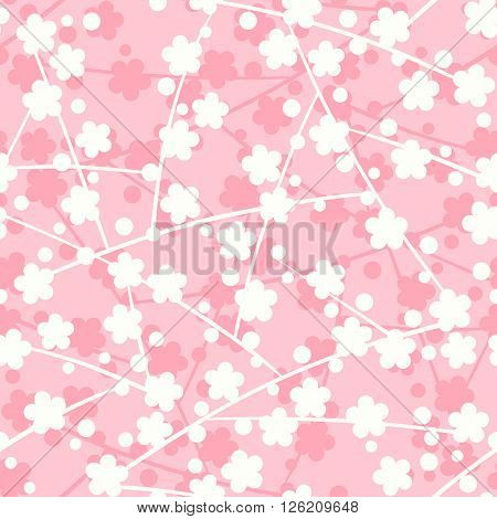 Blossoming sakura flowers Japanese seamless pattern