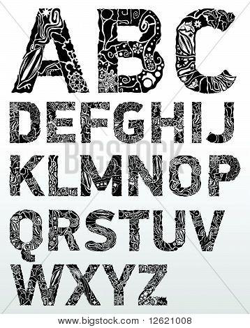 Font Black Flower.