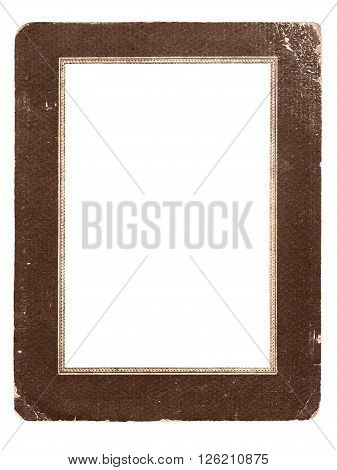 Vintage old cardboard photo frame isolated on white background